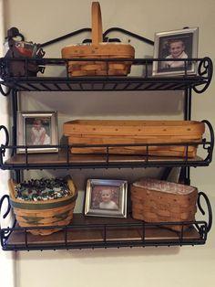 Longaberger small shelf with framed photos