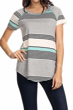 A CLASSIC knit top with a ROUND neckline featuring a multi size STRIPE pattern , short sleeves and a curved hem lightweight .   Classic Stripe T-Shirt by Chris & Carol. Clothing - Tops - Tees & Tanks California