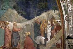 Giotto, Assisi, Basilica Inferiore, Cappella della Maddalena, La resurrezione di Lazzaro (aprire la foto per la spiegazione)