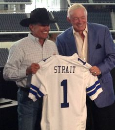 george strait | George Strait poses with Jerry Jones at the Sept. 9, 2013 Cowboy Rides ...