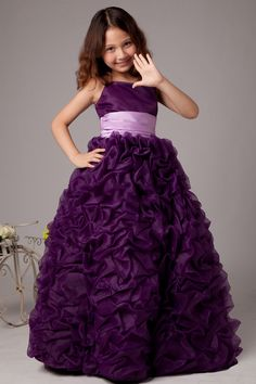 Ball Gown Floor-Length Grape Organza Spaghetti Straps Flower Girl Dress