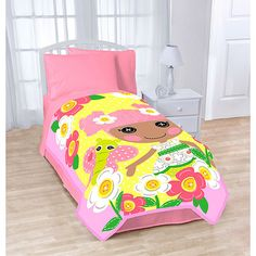 "Lalaloopsy Blanket. Lalaloopsy Blanket: 100 percent polyester Fiber content is 100 percent polyester Machine washable; tumble dry low; do not iron Dimensions: 62"" x 90"" Model# 29143WM Match with other Lalaloopsy bedroom decor Soft micro fiber blanket for comfort Lalaloopsy design across the blanket with bright colors of pink and yellow. Price: $22.88"