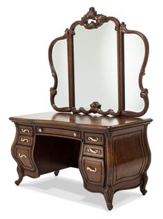 Shop BLACKLION for AICO Michael Amini Jane Seymour design collaboration platine de royale light espresso vanity, bench and mirror set Desk Set, Dressing Table Vanity, Furniture Design, Aico, Mirror With Lights, Aico Furniture, Furniture, Glass Top Vanity, Michael Amini Furniture