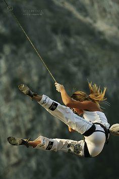 Maya Vidmar of Slovenia taking a fall. Photo: Anna Piunova, Mountain.RU