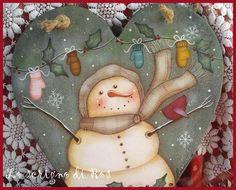 Snowman washing his mittens