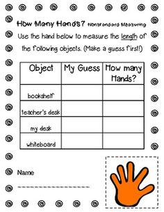 This little freebie is just a small part of my MEASURE MANIA math packet! This page focuses on students using a hand as their nonstandard unit of measurement! Nonstandard Measurement, Measurement Kindergarten, Measurement Activities, Teaching Math, Math Activities, Kindergarten Math, Teaching Ideas, Preschool, 1st Grade Math