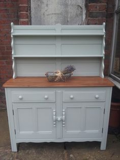 vintage ercol dresser painted in Moonstone grey craig and rose eggshell. By https://www.facebook.com/myfarmhousevintage?ref=hl