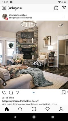 country home decor living room fireplace ; country home decor wohnzimmer kamin country home decor living room fireplace ; Dollar Stores country home decor Living Room With Fireplace, Home Living Room, Living Room Decor, Family Room Design, Interior Design Living Room, Room Interior, Deco Champetre, Salons Cosy, House Ideas