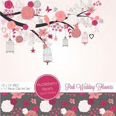 50% OFF Pink and Gray Wedding Flowers Scrapbook Paper, Clip Art, Backgrounds, Digital Paper Set, Vector