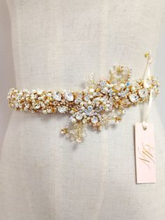 Blush and Gold Crystal Bridal Belt- Custom- Swarovski Crystal Bridal Sash- Gold Bridal Belt