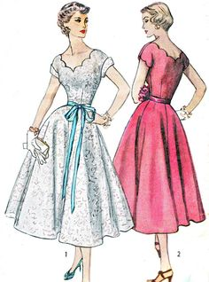 1950s Dress Pattern Simplicity 4295 Scalloped Sweetheart Neckline Full Skirt Day or Evening Dress Junior Teen Vintage Sewing Pattern Bust 30...