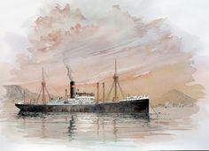 SS Hoogkerk  by Hans Breeman - Watercolour