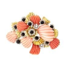 Gold, Carved Coral, Black Onyx and Diamond Brooch