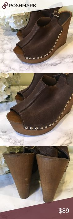 Charles David Boho Suede Stud Platform Wedges In excellent used condition. Fit true to size Charles David Shoes Wedges