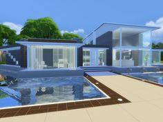 Modern Home featuring open kitchen,dining area,and livingroom.  Found in TSR Category 'Sims 4 Residential Lots'
