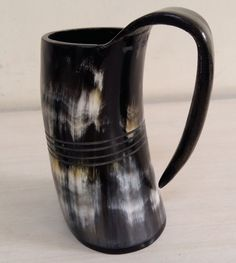 Antique Nautical Viking Drinking Horn Tankard Medieval Mug With Stand Replica