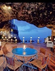 Cave Restaurant in Apulia, Italy. http://www.venice-italy-veneto.com/Polignano.html