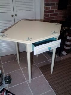 Renewed By Paint www.facebook.com/renewedbypaint  corner table with starfish Nautical Furniture, Corner Table, Starfish, Crafting, Paint, Facebook, Diy, Home Decor, Picture Wall
