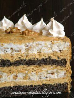 morengu ir aguonu tortas uskarameliniu kavos kremu