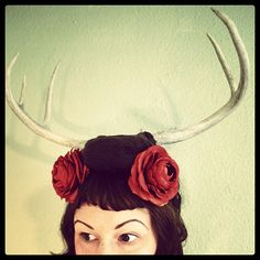 Deer Antler Headband  large brown base with 5 point by doublespeak, $95.00