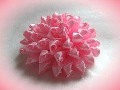 DIY flor de fita de cetim - Estilo kanzashi
