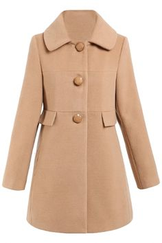 #Chic Thermal Babydoll #Wool #Coat - OASAP.com