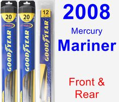 Front & Rear Wiper Blade Pack for 2008 Mercury Mariner - Hybrid