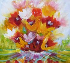 Adry's schilderij nr. 2036 met als titel : In vogelvlucht in het formaat 90 x 100 cm.