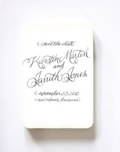 Custom Calligraphy Save the Date Rubber Stamp by hazelwonderland