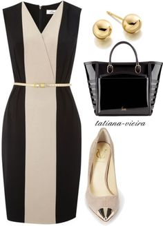 A fashion look from August 2012 featuring Vince Camuto pumps, Christian Louboutin handbags and Astley Clarke earrings. Browse and shop related looks. Business Fashion, Work Fashion, Fashion Looks, Fashion Design, Dress Outfits, Fashion Outfits, Womens Fashion, Fasion, Vestido Multicolor