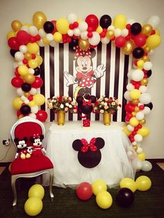 Minnie Mouse Birthday Theme, Red Minnie Mouse, Minnie Mouse Baby Shower, Minnie Mouse Background, Mickey Mouse Backdrop, Baloon Garland, Simple Birthday Decorations, Mickey Party, Mickey Mouse Theme Party