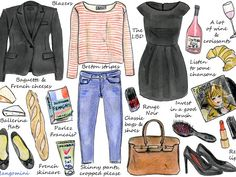 "French women are known for their great, seemingly effortless style, that certain ""je ne sais quoi"". The good news is that stealing a bit of their style is not so difficult. They believe in ""less is more"", great quality basics and natural looking hair and make-up. Oh, and they like to enjoy life with great food and wine. Here is my illustrated guide to living a little bit of the French girl's lifestyle. See you next week!"