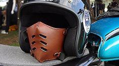 Leather mask FLAT 70 DARK BROWN/motorcycle mask/ leather mask/cafe racer mask/bobber mask/bratstyle mask/leather mask/vintage mask/Boken.