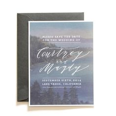 Custom designed Vintage Tahoe Save the Date by Cast Calligraphy & Design, Bozeman, Montana.