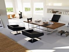 The right home office furniture will make the difference in your outlook on working. Before you buy home office furniture, you will need to consider several things. Mesa Home Office, Modern Home Office Desk, Modern Home Offices, Home Office Space, Modern Desk, Modern Executive Desk, Modern Lamps, Post Modern, Desk Office