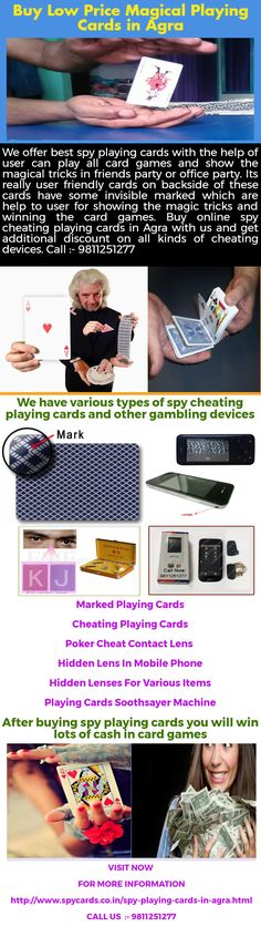 Spy playing cards are secret cheating cards by using these cards you can get the lots of benefits in cards games like easy to cheating other players and win lots of money and much more. Spy cards manufactured with best quality plastic material which is long lasting and wrinkle free. We provide spy cheating playing cards in Agra at best price