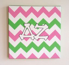hand painted Delta Zeta letters outline with chevron background 12x12 canvas OFFICIAL LICENSED PRODUCT