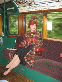 vintage train fashion.....love the plaid coat... matches trains interior!