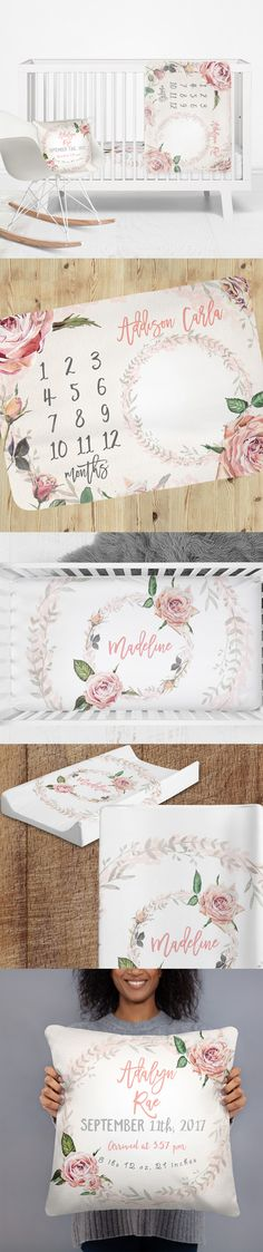 This beautiful nursery bedding collection will become number 1 favorite to any stylish Mama that is planning a nursery decor for her little girl