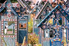 Săpânța, Romania - Cimitirul Vesel (Merry Cemetery) The colourful tombstone crosses describe with paintings and poems the live and death of the buried person Visit Romania, Famous Castles, Wonderful Places, Travel Inspiration, City Photo, Places To Go, Merry, Creative, Beautiful