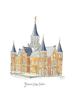 Provo City Center Temple-Watercolor by FourWindsSevenSeas on Etsy