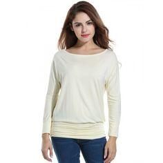 Women Casual Boat Neck Batwing Sleeve Solid Draped Blouse Dolman Top