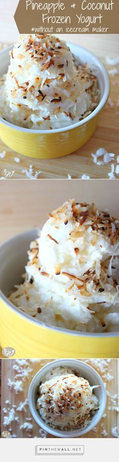 Pineapple Coconut frozen yogurt (no ice cream maker needed!) | therusticwillow.com