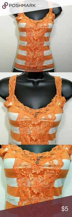 REWIND Cami l Lace Accent l Small REWIND cami with lace and botton accents. Size small. Slight stain on the back as shown in the photo. Great for layering.   Bundle multiple purchases to avail discounts and save on shipping. Happy Poshing! Rewind Tops