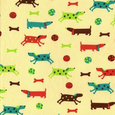 Polka Dot Dogs Cotton Interlock Knit Fabric, $12.95 per yard