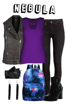 """Nebula"" by waywardfandoms ❤ liked on Polyvore featuring H&M, G1, Topshop, Betani, City Chic, NOVICA, Harley-Davidson, marvel and guardiansofthegalaxy"