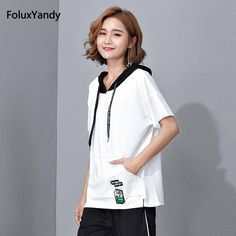 Hooded Summer Tops Women Plus Size 3 4 5 XL Short Sleeve Loose T-shirts QF93-X1756 #Affiliate
