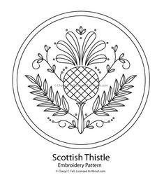 Thistle embroidery pattern. Surround it with embroidered bees and you're in business! ;)