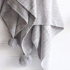 Closely Knit Pom Pom Blanket, Grey