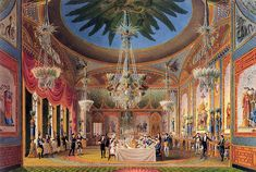 The richly decorated Banqueting Room at the Royal Pavilion, from John Nash's Views of the Royal Pavilion (1826).